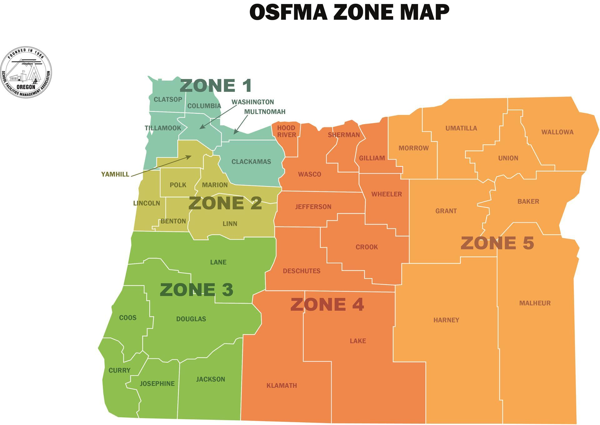 Oregon School Facilities Management Association Zones